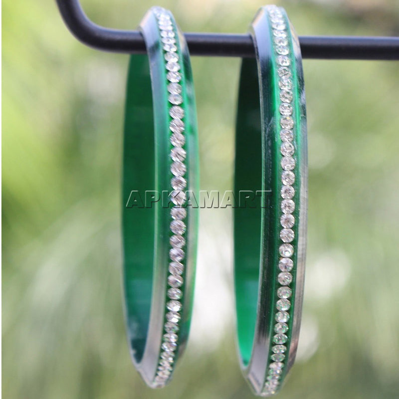 Dark Green Beads Bangles - ApkaMart