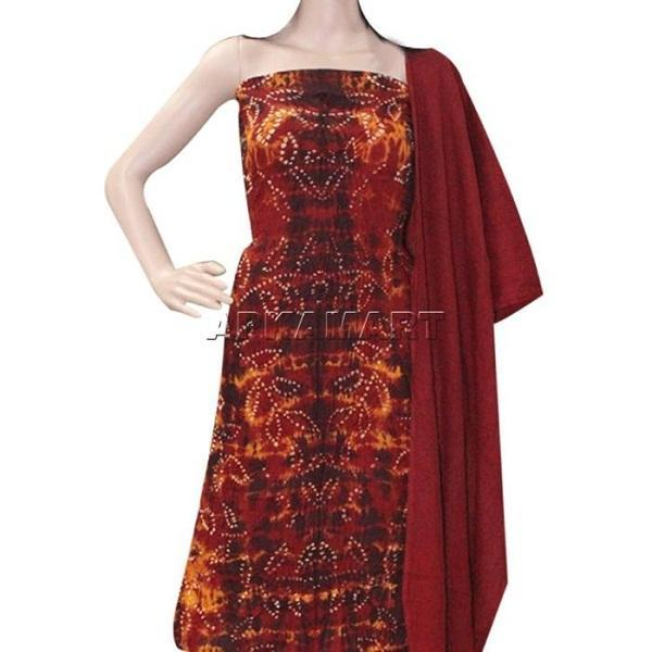 Fiery Red Tie and Dye Dress Material - ApkaMart