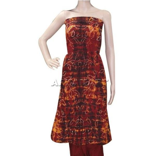 APKAMART Fiery Red Tie and Dye Dress Material