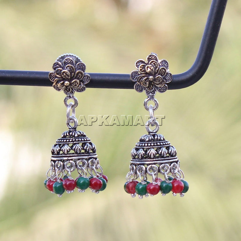 APKAMART Flower Shaped Jhumkas