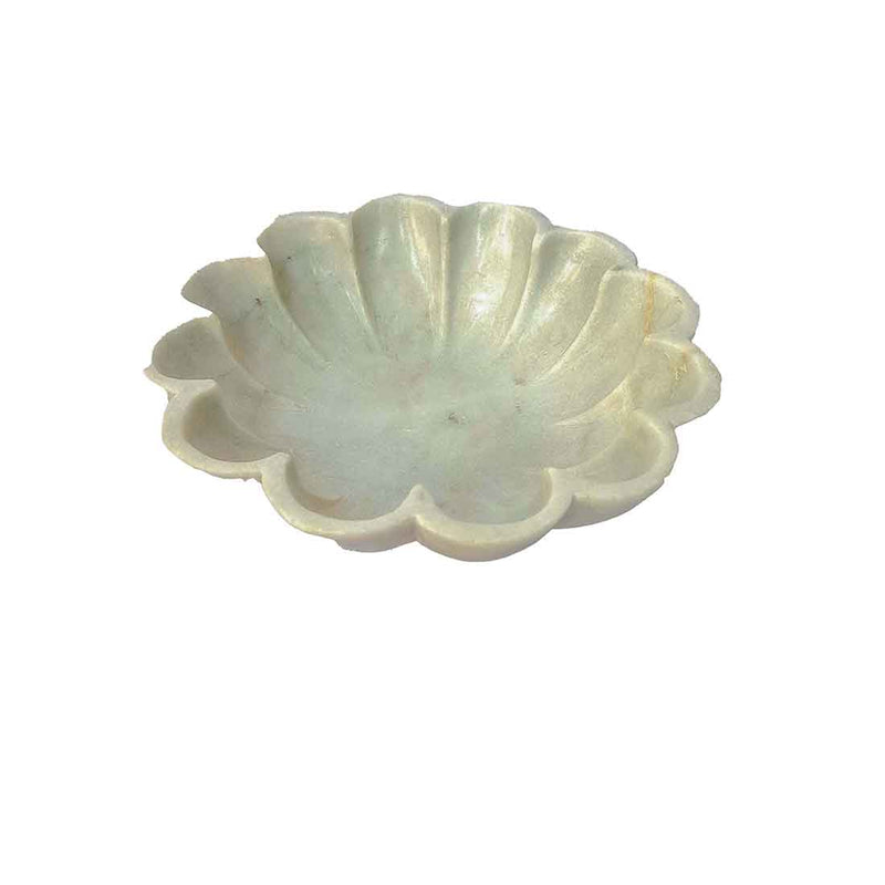 APKAMART Flower Shaped Marble Decorative Bowl 9 Inch
