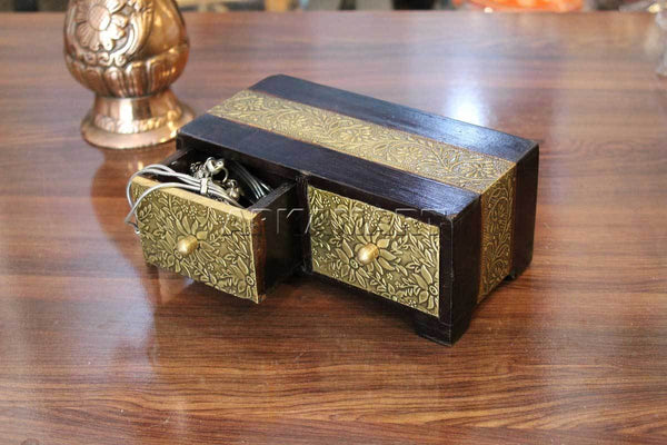 APKAMART Golden 2 Drawer Jewelry Box 7 Inch