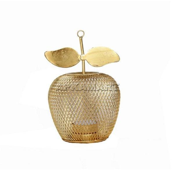 APKAMART Golden Apple Tea Light Holder 7 Inch