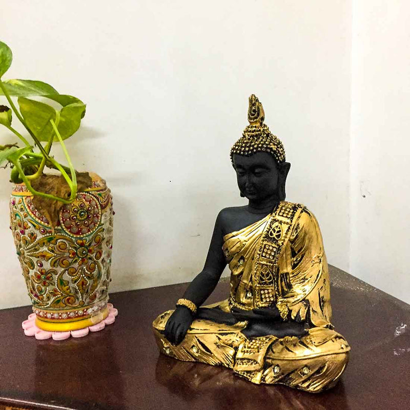 Golden Buddha Showpiece 9 Inch - ApkaMart