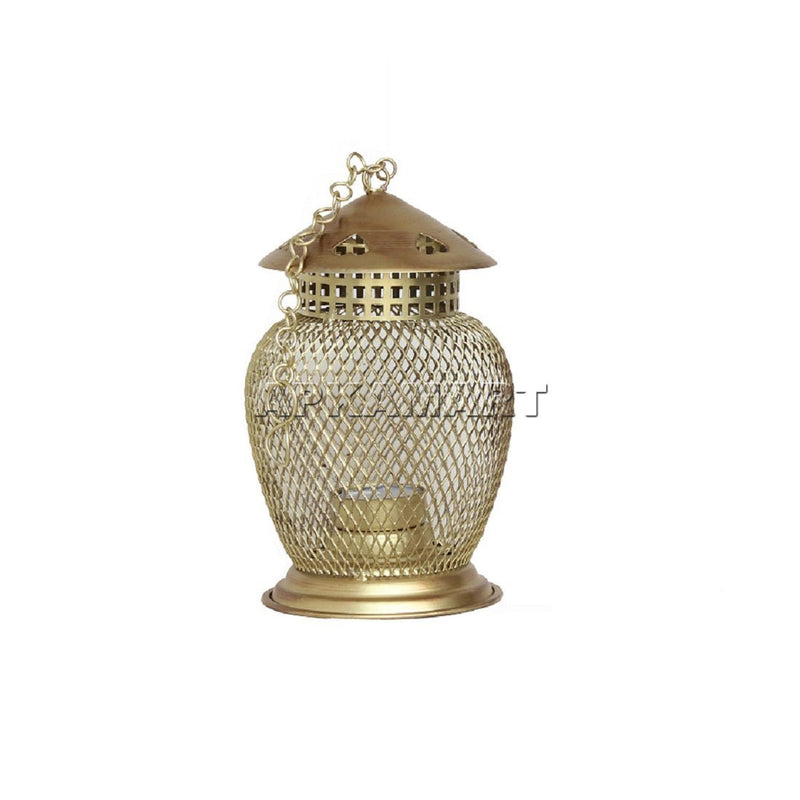 Golden Lantern T Light Holder 7 Inch - ApkaMart