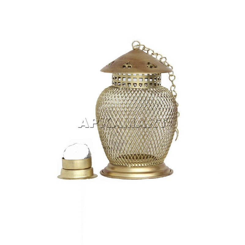 APKAMART Golden Lantern T Light Holder 7 Inch