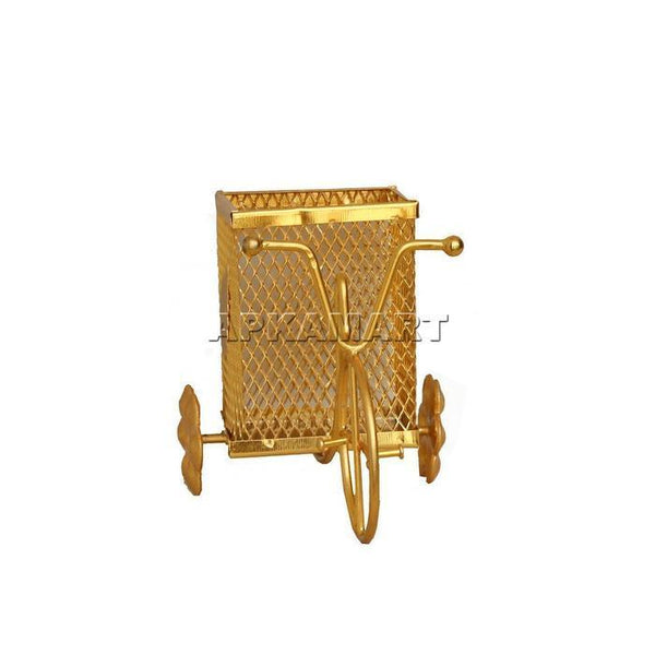 APKAMART Golden Rickshaw Pen Holder 8 Inch