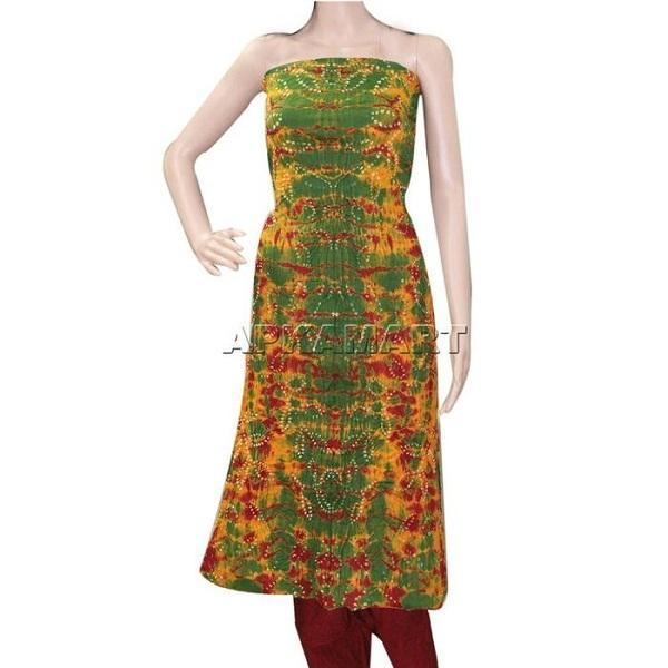 APKAMART Green and Maroon Tie and Dye Dress Material