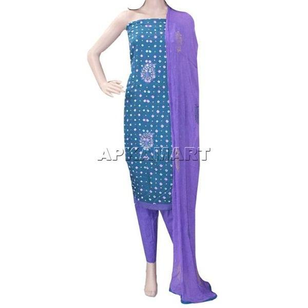 APKAMART Green and Purple Tie and Dye Dress Material