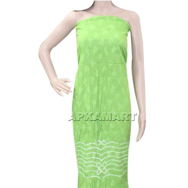 APKAMART Green and White Tie and Dye Dress Material