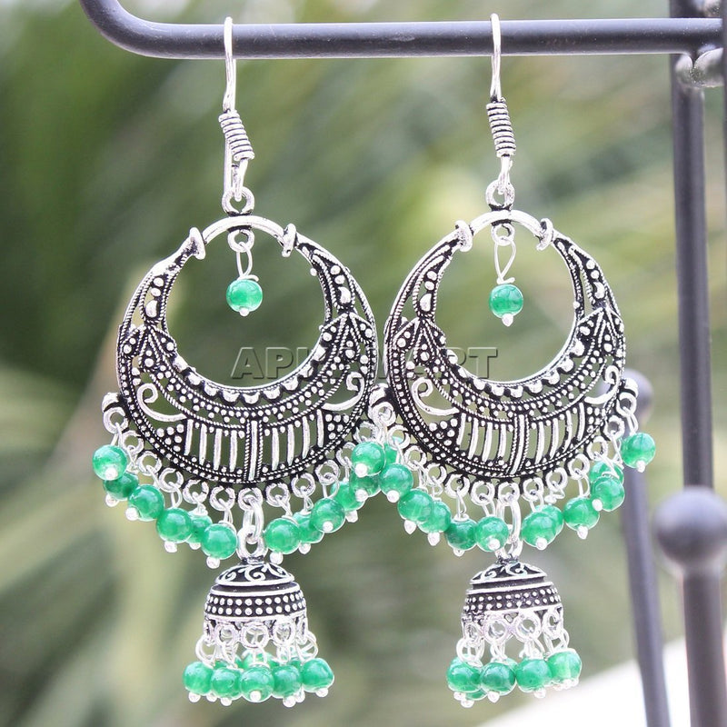 APKAMART Green Beaded Oxidised  Drop Earrings