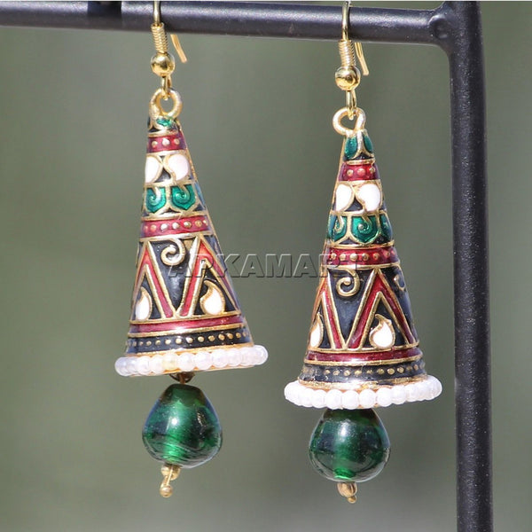 APKAMART Green Traditional Dangle Earrings