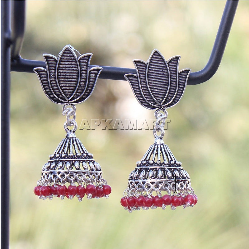 APKAMART Lotus Dome Shaped Jhumkas