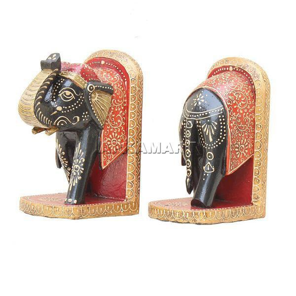 APKAMART Multicolour Elephant Bookend Set 10 Inch