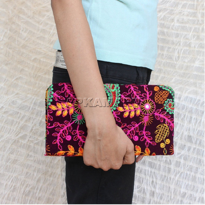 APKAMART Multicolour Embroidery Clutch