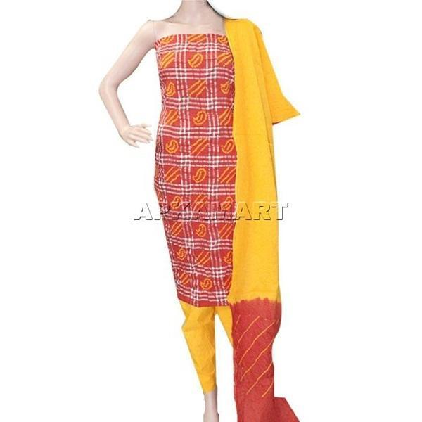 APKAMART Orange and Yellow Tie and Dye Dress Material