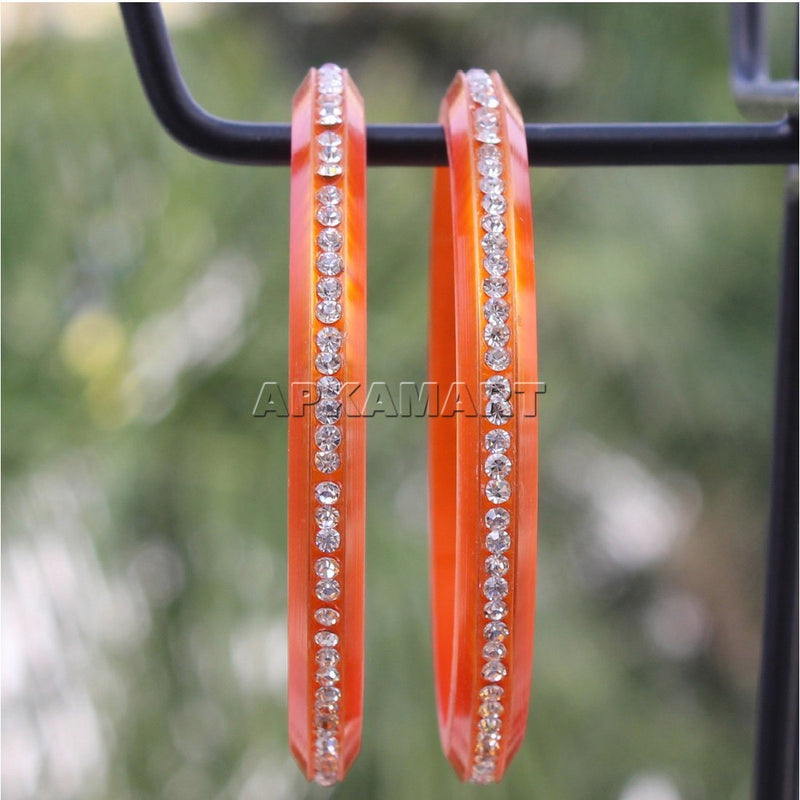 APKAMART Orange Beads Bangles