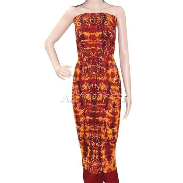 APKAMART Orange Tie and Dye Dress Material