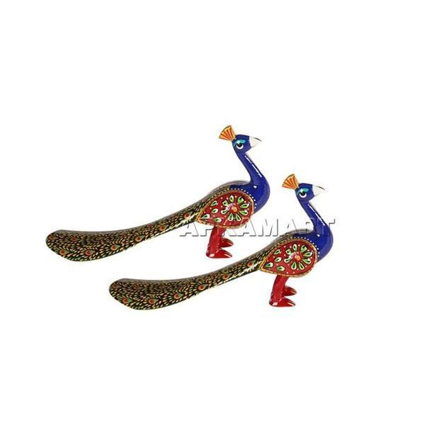 APKAMART Peacock Figurines Set 6 Inch