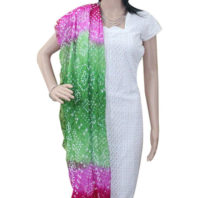 APKAMART Pink and Green Tie & Dye Dupatta