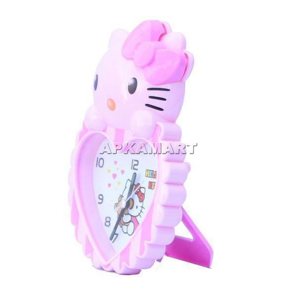 APKAMART Pink Kitty Clock 8 Inch