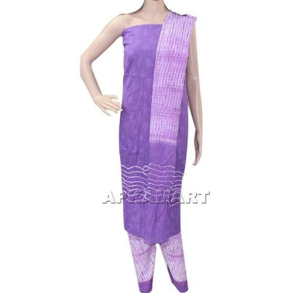 APKAMART Purple and White Tie and Dye Dress Material