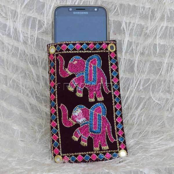 APKAMART Purple Elephant Design Mobile Pouch