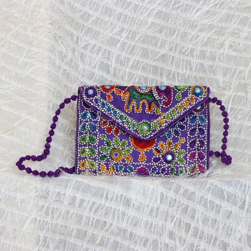 APKAMART Purple Embroidery Clutch