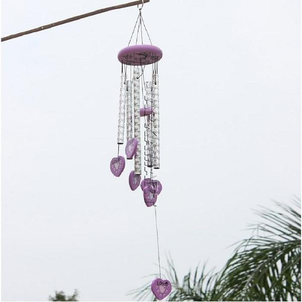 APKAMART Purple Heart Wind Chime 28 Inch