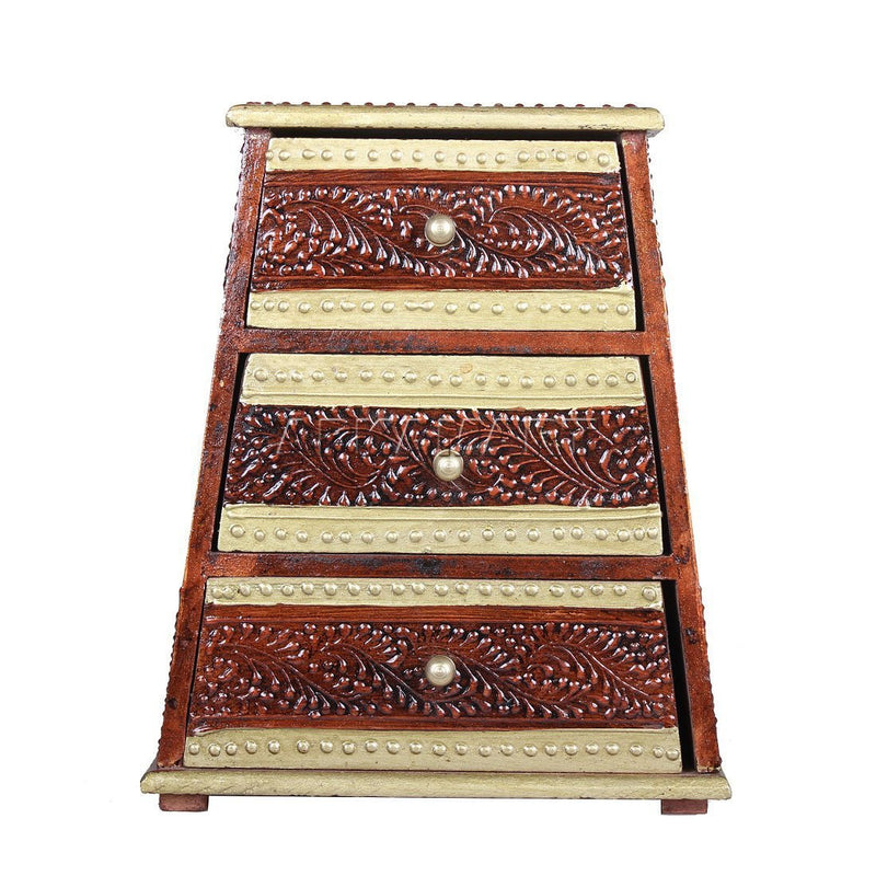 APKAMART Pyramid Brown 3 Drawer Jewelry Box 9 Inch