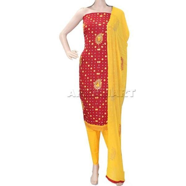 APKAMART Red and Yellow Tie and Dye Dress Material