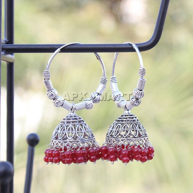 APKAMART Red Bead Chandbali Earrings