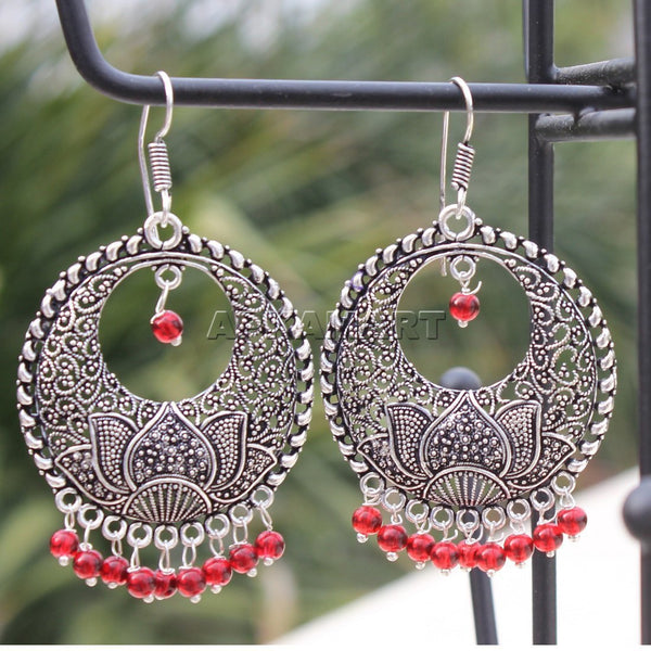 APKAMART Red Bead Contemporary Earrings