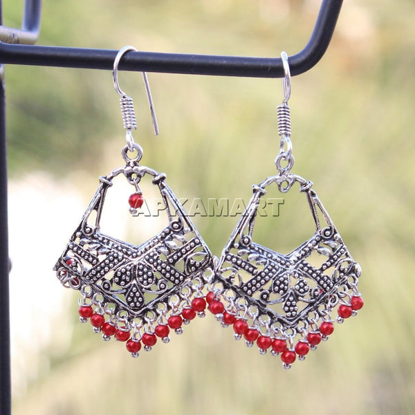 APKAMART Red Bead Drop Earrings