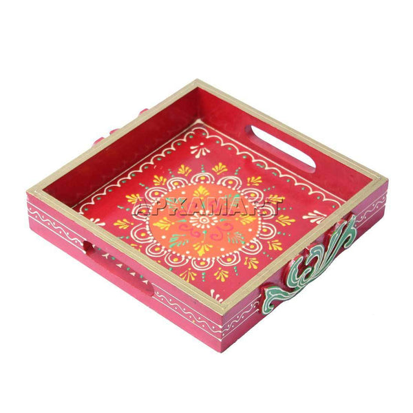 APKAMART Red Square Tray 10 inch