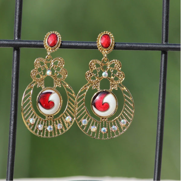 APKAMART Red Traditional Dangle Earrings