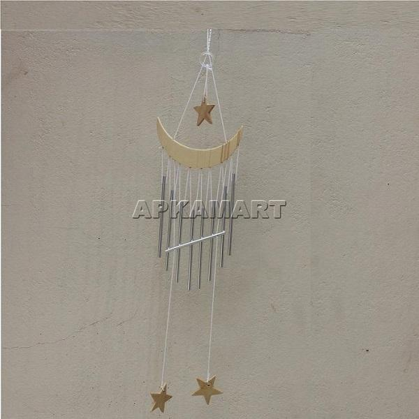 APKAMART Star & Moon Wind Chime 21 Inch