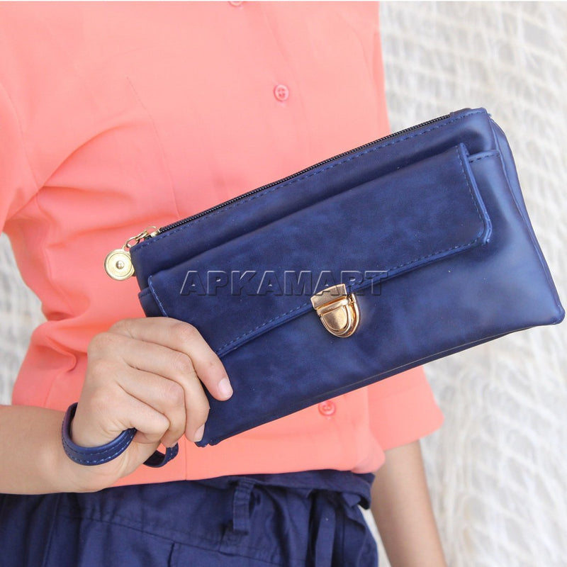 APKAMART Stylish Blue Clutch