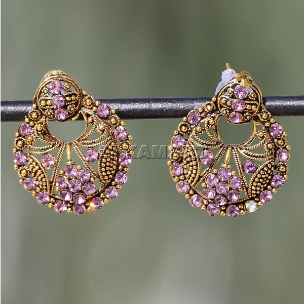 APKAMART Traditional Pink Golden Studs