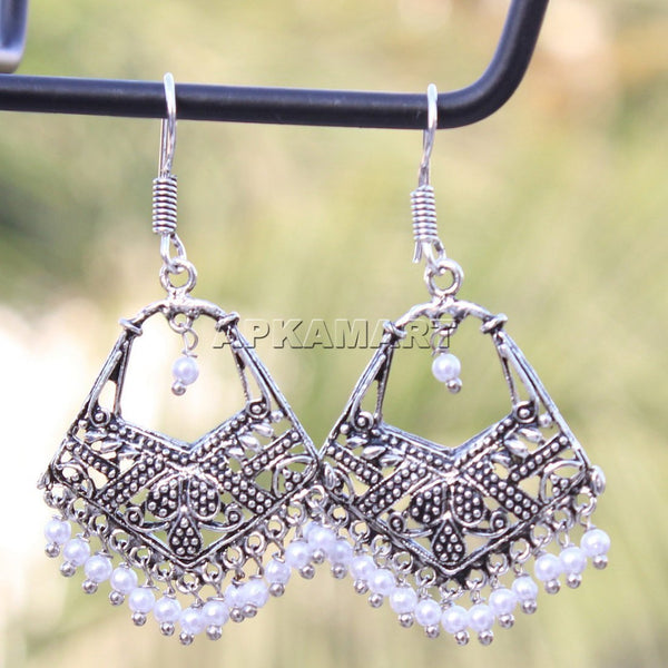 APKAMART White Bead Drop Earrings