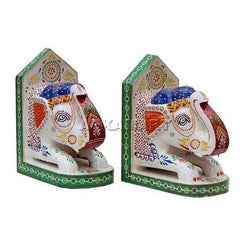 Apkamart White Elephant Bookend 10 Inch