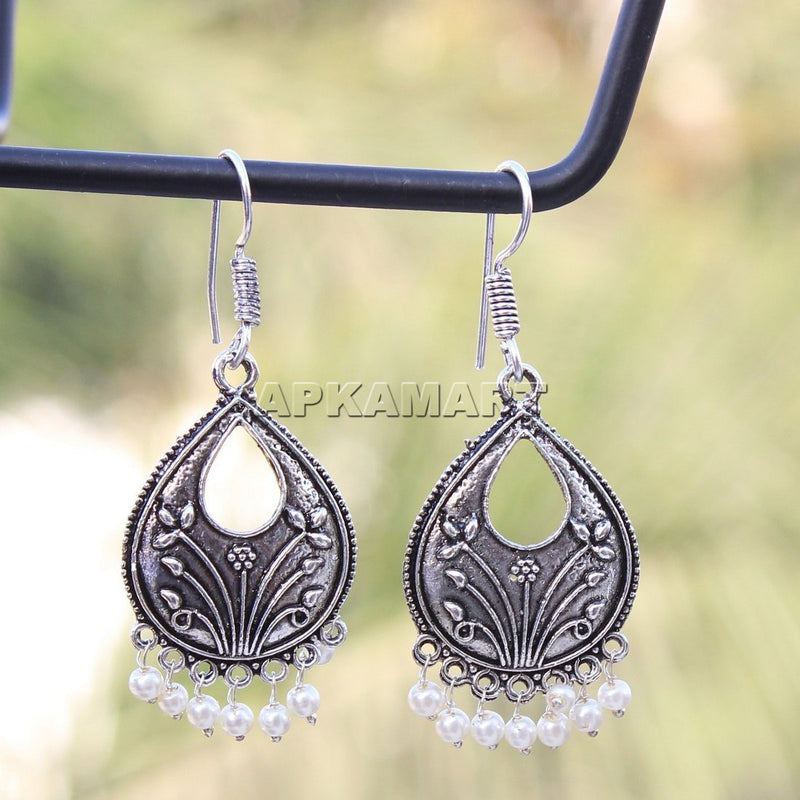 White Tribal Dangler Earrings - ApkaMart