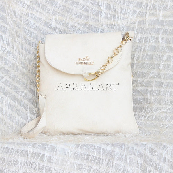 APKAMART White With Chain Design Sling Bag