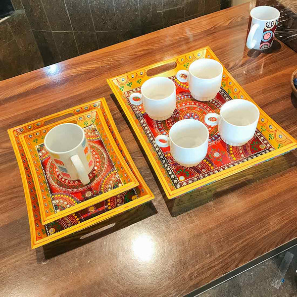 APKAMART Wooden Serving Tray Set of 3