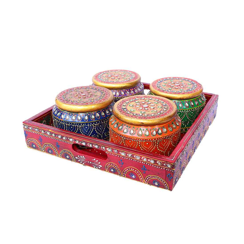 APKAMART Wooden Tray With Matki Bowl Set