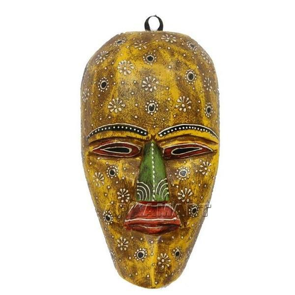 APKAMART Yellow Tribal Mask 9 Inch