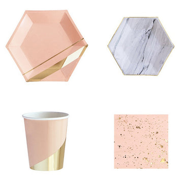 Gold Blocking Marble Texture Paper Tableware