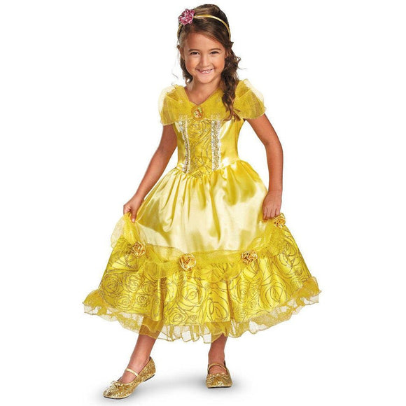 Girl's Disney Princess Belle Deluxe Sparkle Costume - Toddler-Child Size