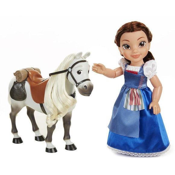 Disney Beauty and the Beast Belle Blue Dress Doll With Horse - Brunette
