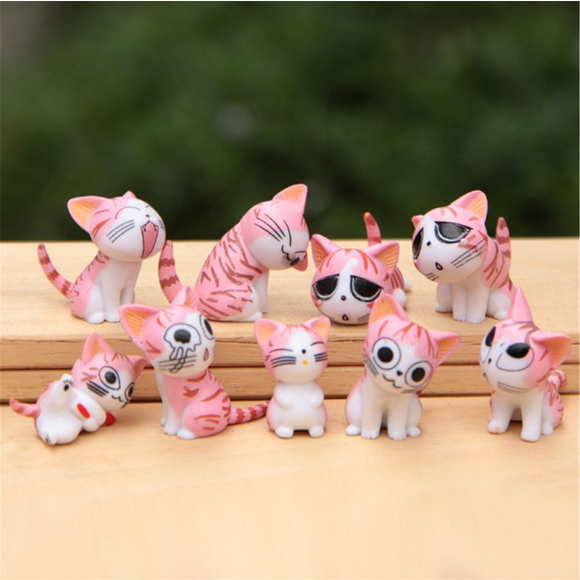 Pink Cats Set of 9